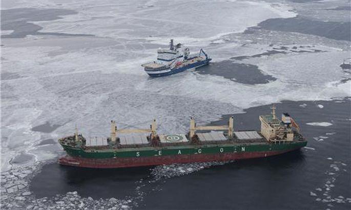Сухогруз терпит действие вводах Финского залива