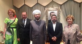 Yana Toom poses with Grand Mufti who threatened to blow up Europe
