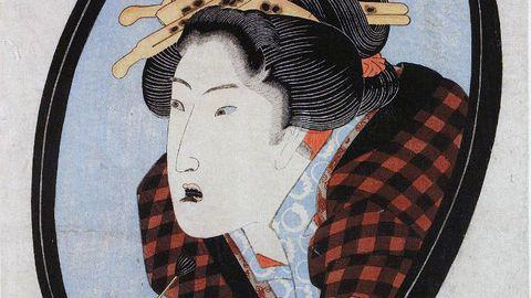 Utagawa Kunisada joonistus naisest hambaid mustaks lakkimas.