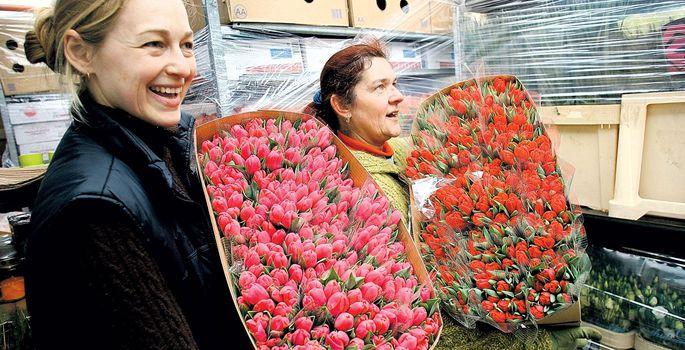 21182d911ca Jardini aianduskeskuse töötajad Liina Perve (vasakul) ja Karin Lepp tõid  jahedast hoiuruumist välja meie naistepäeva lemmiklilled – tulbid.