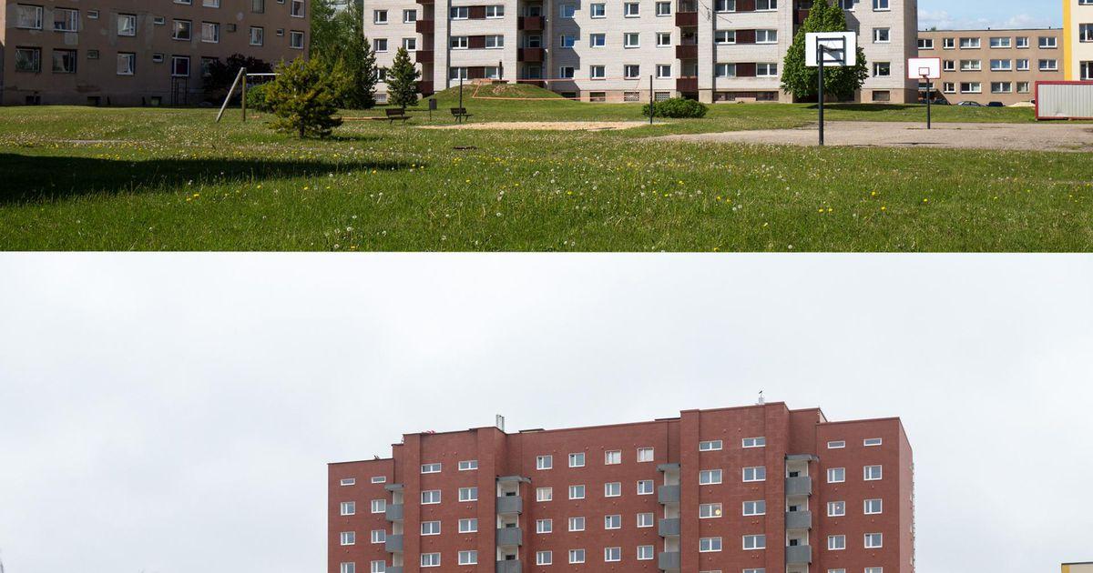 Päevapilt. Enne ja pärast. Männimäe kortermaja on saanud punase kuue