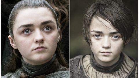 Arya Stark (Maisie Williams) «Troonide mängu» alguses (paremal) ja nüüd