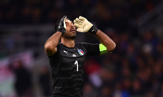 1686852315b ... Cup 2018 qualification football match between Italy and Sweden, on  November 13, 2017 at the San Siro stadium in Milan. / AFP PHOTO / Marco  BERTORELLO