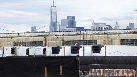 Ajutine Covid-19 ohvrite morg New Yorgis, Brooklynis.